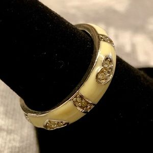 Jewelry - Off white enamel ring w czs and hearts. Stackable